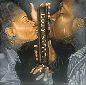 Painting of Husband and Wife Kissing the Holy Bible